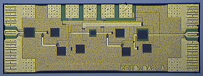 Microphotograph of  two stage-235 GHz amplifier Microwave Monolithic Integrated Circuit MMIC (Dimensions: 1.12 mm x 0.48 mm)