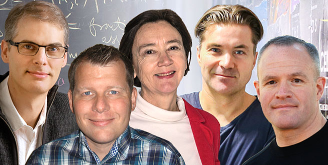 Benjamin Pierce, Ludvig Strigeus, Maria José García Borge, Martin Lorentzon and Jay Keasling are the 2015 honorary doctorates at Chalmers University of Technology.