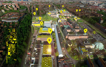 Map of solar panels at Campus Johanneberg