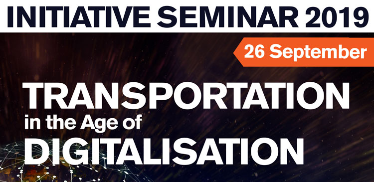 Text in image: Initiative seminar Transportation in the Age of Digitalisation, 26 September 2019