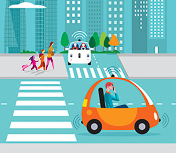 Audio description: cartoon image of self-driving cars