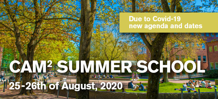 Park with students and a text in the picture saying CAM2 summer school