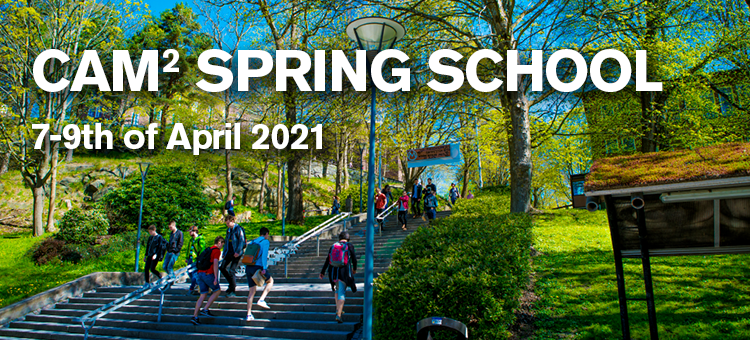 Students walking towards stairs outside in the Chalmers area, in spring season