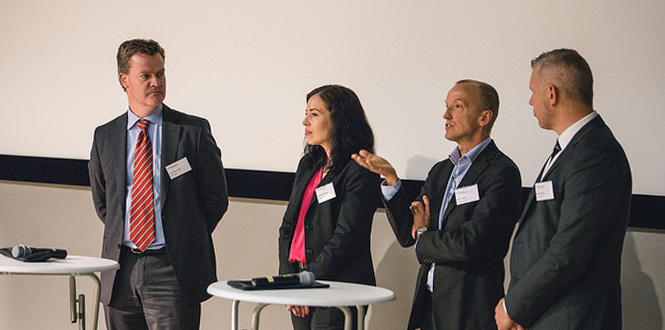 Panel from left: Henrik Runnemalm, GKN, Kristina Wärmefjord, Wingquist Laboratory, Anders Carlsson, and aspe Wickman, both VCG.