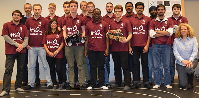 Team M.O.O.S.E. together with representatives from the sponsors HiQ Göteborg and Delphi.