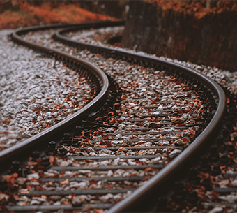 close up of railway tracks