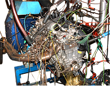 A 6-cylinder experimental engine designed for gasoline use installed in Cell-D.