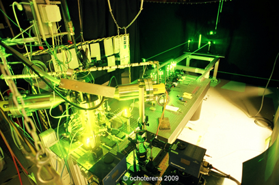 Image of the spray chamber with laser beams used for laser induced incandescence.