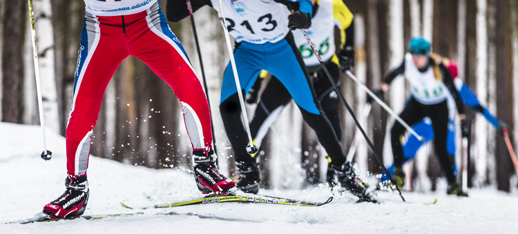 Cross country skiiers in action