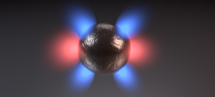 Dipole (red) and quadrupole (blue) plasmon modes of a metallic nanopshere