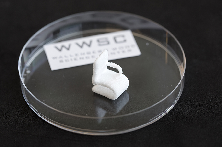 The tiny chair made of cellulose is a demonstrational object printed by the 3D bioprinter at Chalmers University of Technology.