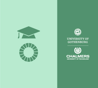 Chalmers University of Technology and the University of Gothenburgs logos together with an academia symbol and the Global goals
