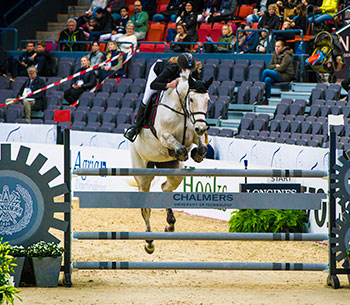 Syntolkning: Chalmershindret 2018 på Gothenburg Horse Show