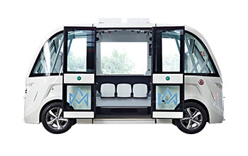 Photo of the self driving shuttle