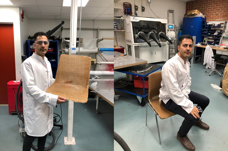 Researcher demonstrating jute Fibre Composite Chair Fabricated Using Resin Infusion Technique