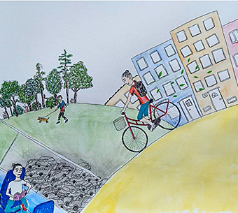 drawing of woman riding a bike