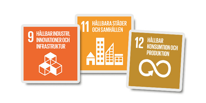 Picture of the logos of sustainable goals 9, 11 and 12