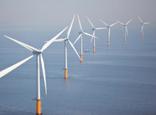 Photo of windpower plant at sea