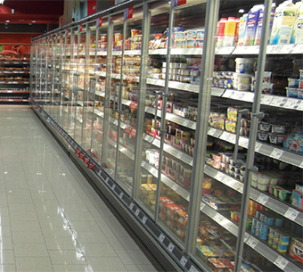 Interior from a grocery store with refrigerators