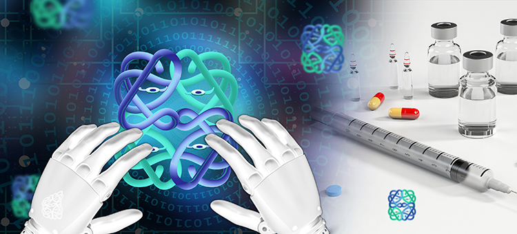 illustration of AI, proteins and drugs