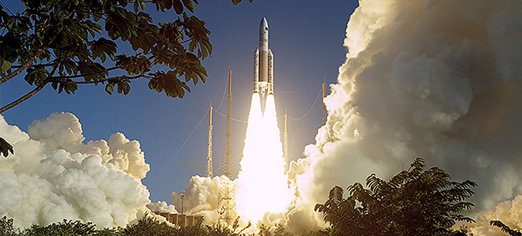 Launch of an Ariane 5 rocket carrying satellites