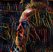 A self-portrait by Palle Dahlstedt created using Google Dream.