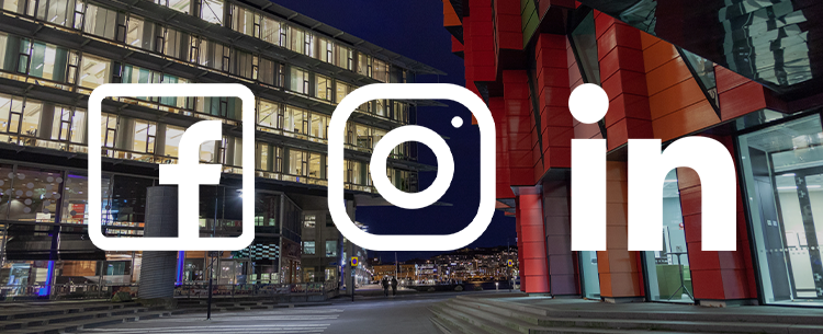 Picture from campus Lindholmen with Facebook, Instagram and LinkedIn logotypes.