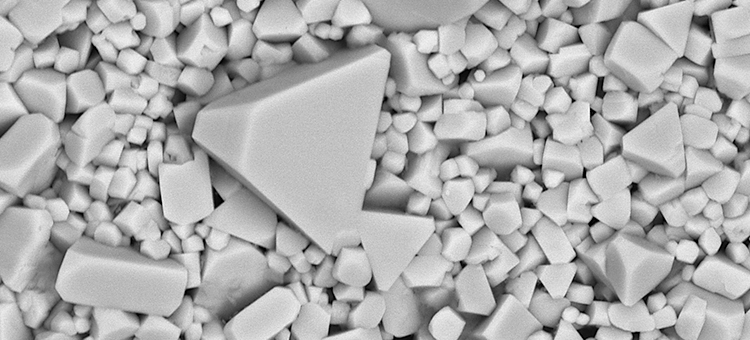 SEM image of volfram carbide particles in a cutting tool.