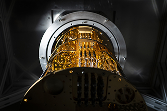Photo of the inside of a cryostat
