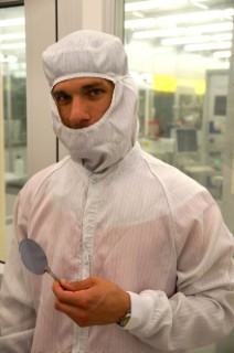 Mr. Clemens Krückël is working hard in the cleanroom at the MC2 premises to manufacture novel photonic deivces.