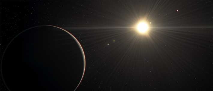 An artist's view of the TOI-178 planetary system