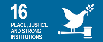 UN global goal 16: Peace, justice and strong institutions.